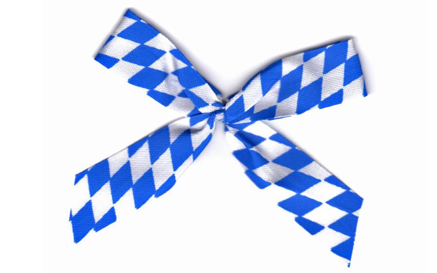 Rautenschleife als Festabzeichen weiss-blau