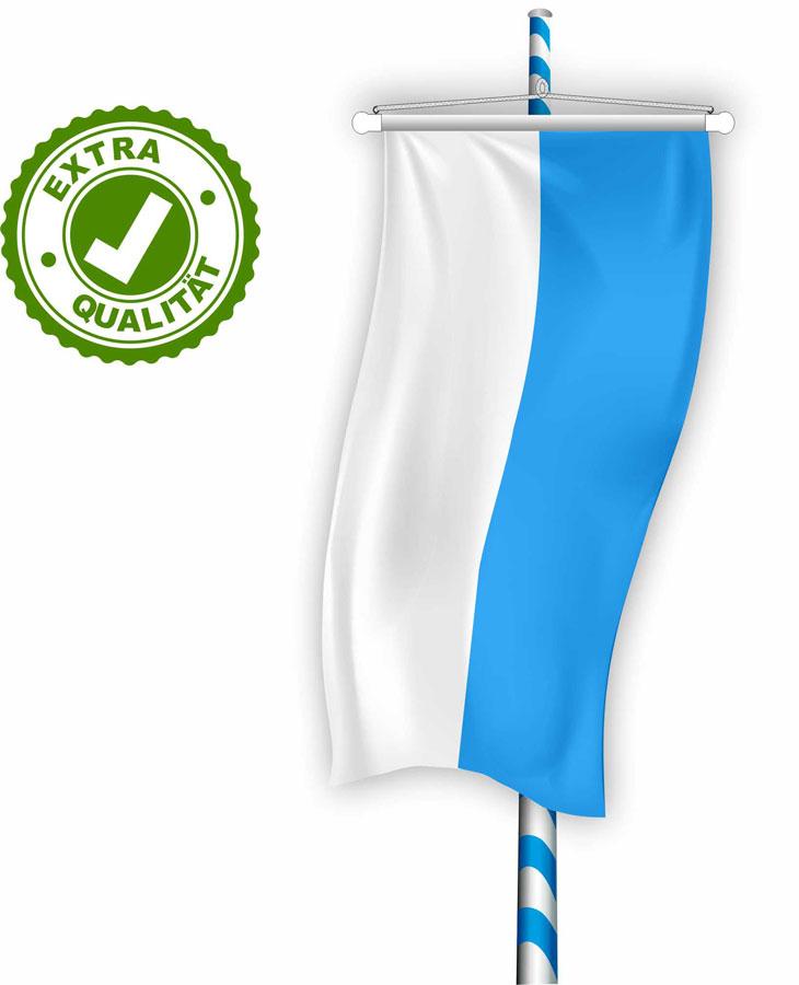 01 Bannerfahne für Maibaum EXTRA weiß-blau