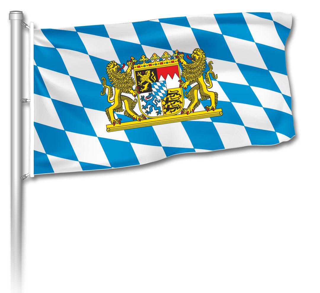 Flagge - bayerische Raute mit Staatswappen