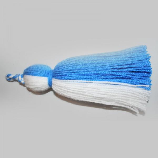 Maibaum-Quaste weiß/blau große Fahnenquaste