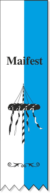 Festabzeichen weiß-blau mit Maibaummotiv - Lagerartikel