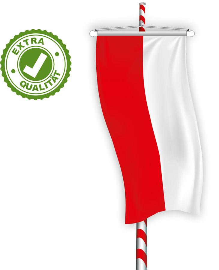 03 Bannerfahne für Maibaum EXTRA rot-weiß